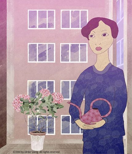 ulrike spang illustration artwork hortensie fenster frau