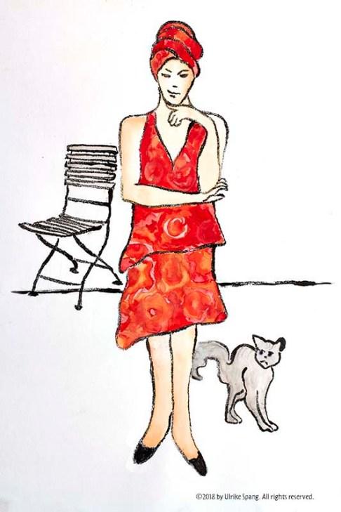 illustration artwork ulrike spang katze frau zeichnung