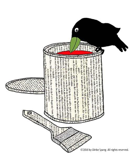 ulrike spang illustration artwork vogel farbe rot