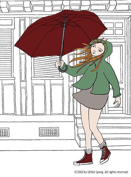 ulrike spang wind regen schirm mädchen zeichnung illustration artwork