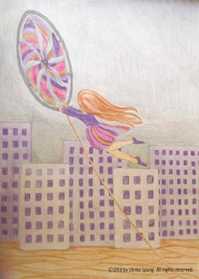 illustration ulrike spang mädchen windrad freiheit
