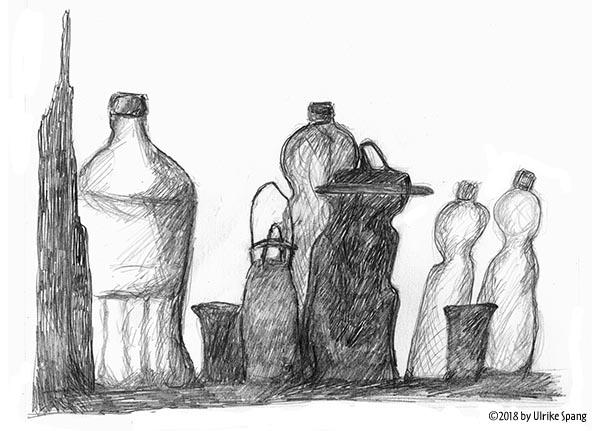 ulrike spang, illustration, flaschen,zeichnung, grafik
