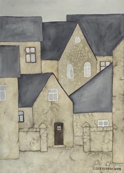 Ulrike spang illustration häuser aquarell