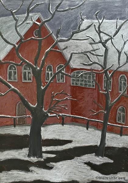 ulrike spang illustration malerei winter pastellkreide Kalenderblatt februar