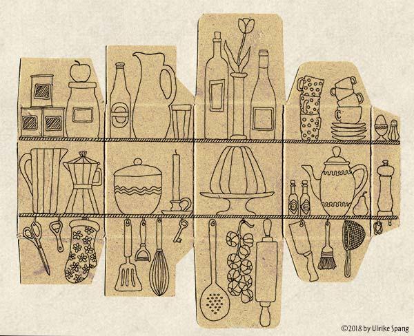 Ulrike Spang illustration zeichnung schachtel küche