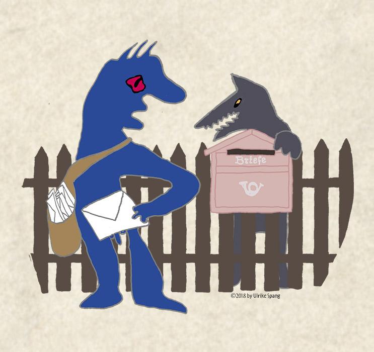 Briefträger, hund, dogge hinterm Gartenzaun, Briefkasten, ulrike Spang, ulli verlag