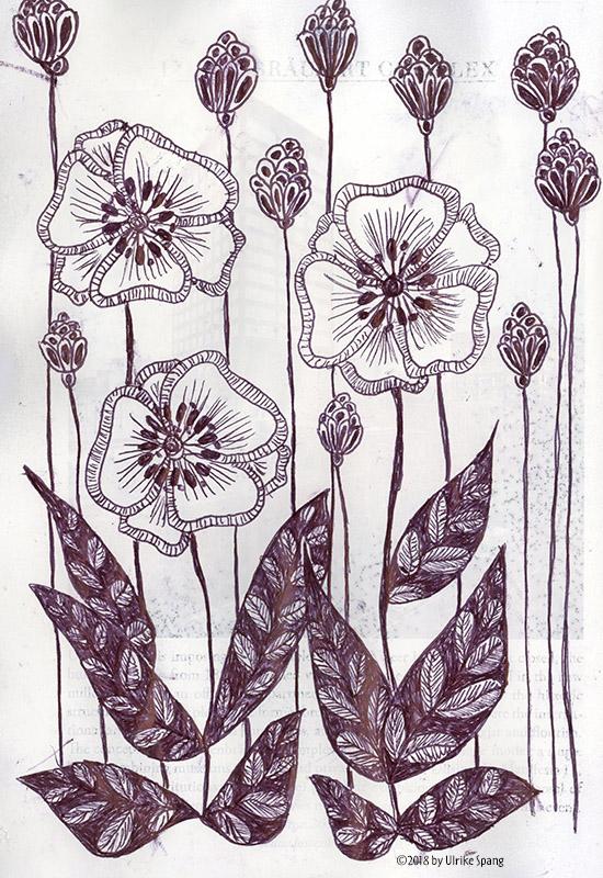 doodle, blumen,skizze,zeichnung,ulrike spang